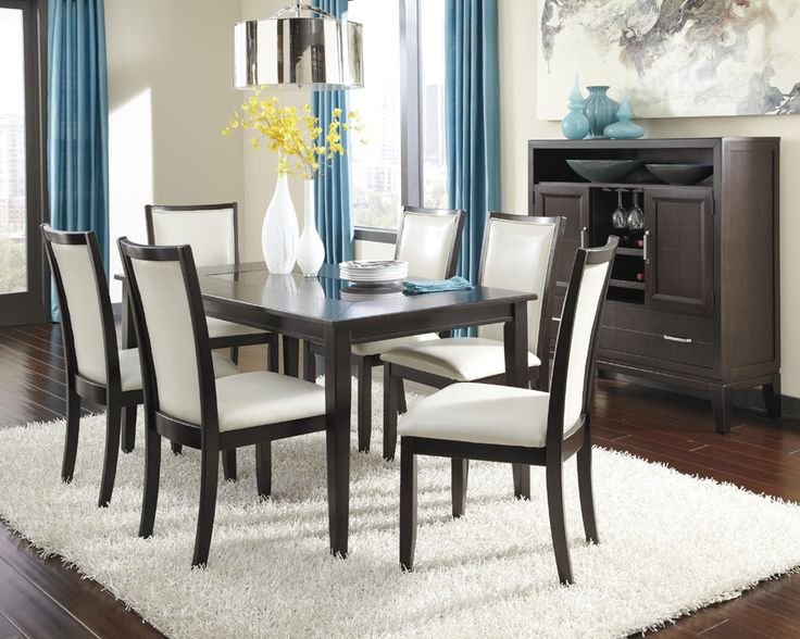 ... A Dark Espresso Color Finish Complementing The Okoume And Ash Veneers,  The Trishelle Rectangular Dining Room Set By Ashley Furniture Adds An  Exceptional ...