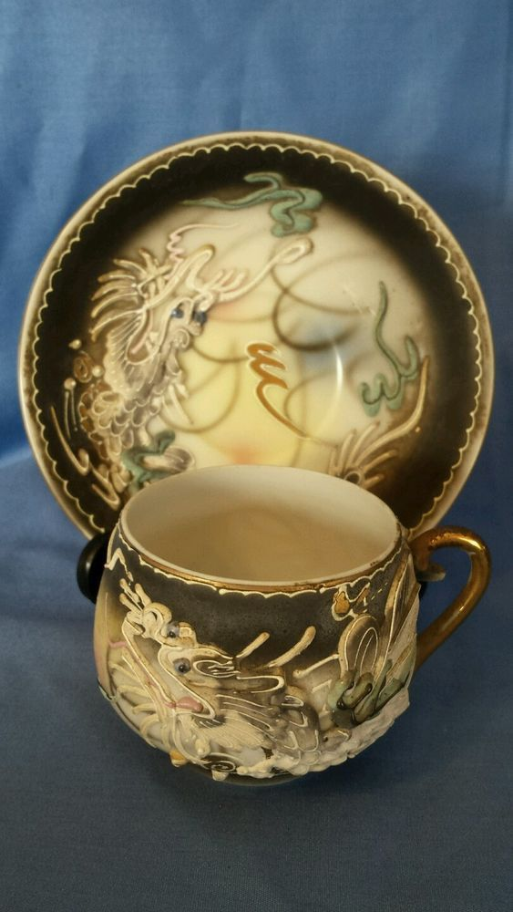 the clothing shop Vintage Moriage Tea Cup and Saucer Grey and Pastels Dragon  Amazing