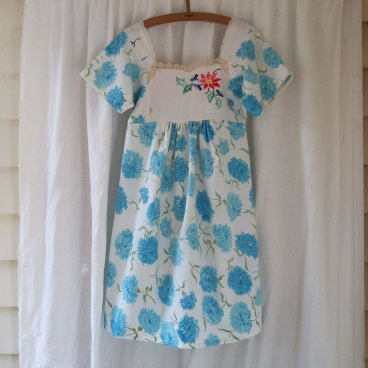 Womens Floral Woodsfolk turquoise folk dress in vintage cotton with Embroidered bodice petite size 6-8 blue and white by smallforestshop on Etsy