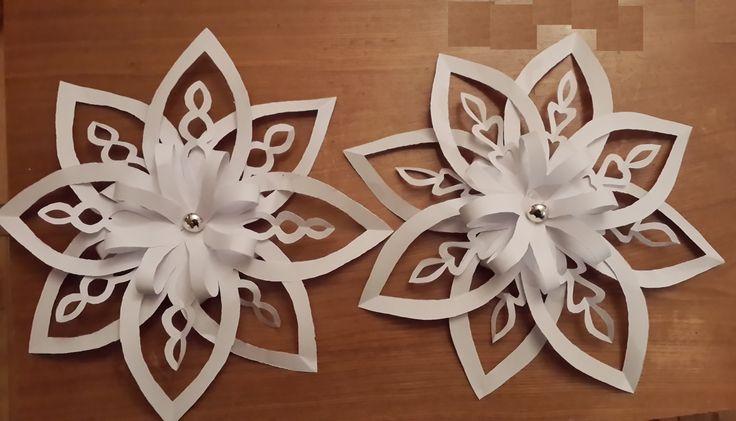 Snowflake # 3. Each snowflake is made of 2 sheets of A4 format paper. 2 снежинки с вырезанными внутри кружочками и сердечками. Для каждой снежинки нужно 2 ли...