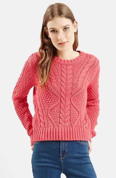 Topshop Cable Knit Crop Sweater (Nordstrom Exclusive) available at #Nordstrom