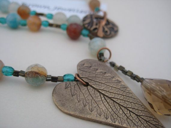 Gemstone Bronze Pendant Necklace Bronze Leaf by KBrownJewellery, £51.00