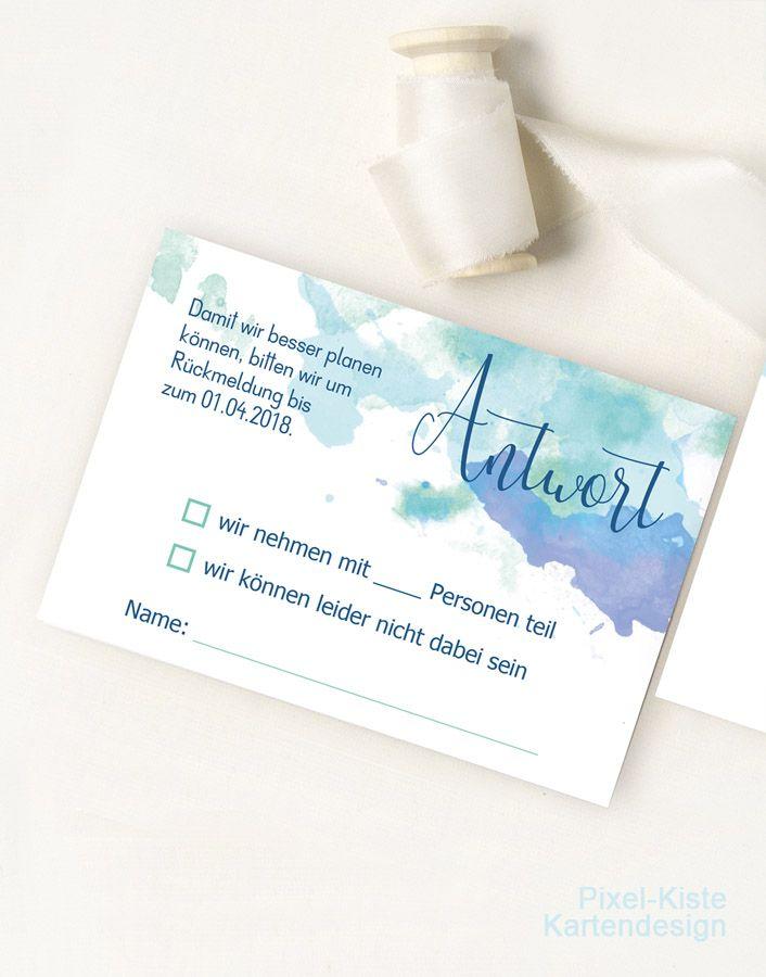 Antwortkarten Rsvp Karten Zur Hochzeit Watercolor Antwortkarten Hochzeit Antwortkarten Karte Hochzeit