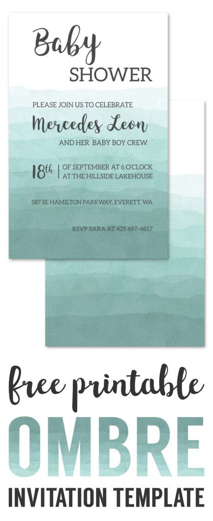 Ombre Invitation Templates Free Printable. Wedding invitation template, DIY baby shower invitation template, birthday party invitation template.