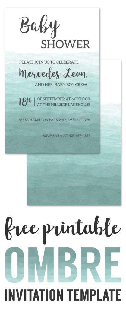 Ombre Invitation Templates Free Printable. Wedding invitation template, DIY baby shower invitation template, birthday party invitation template.
