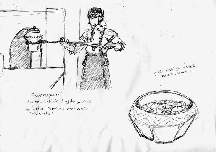 Meččyniekan Syväin - Metsästäjän Sydän: Tšainoi-konseptutaidehet: ruukkupaistin valmistus