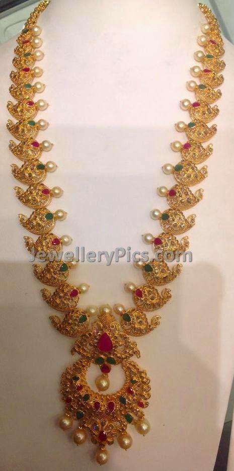 Uncut diamond Mango mala with chandbali pendent - Latest Jewellery Designs
