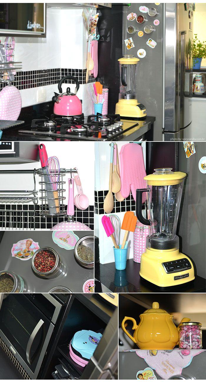 Utensilios de cozinha em tons pastel; pastel color cooking utensils