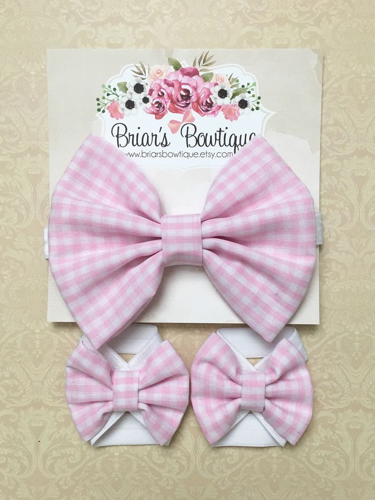 Pink and white bow headband and barefoot sandal set; Pink and white gingham fabric bows on white elastic; baby, toddler, or girl by BriarsBowtique on Etsy https://www.etsy.com/listing/238439243/pink-and-white-bow-headband-and-barefoot