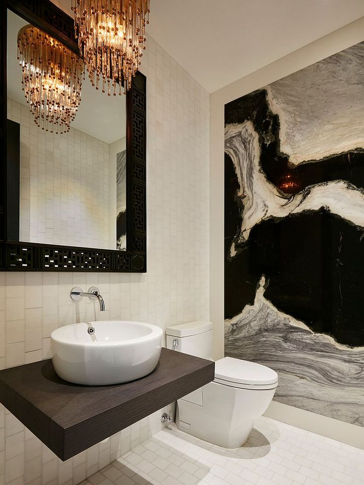 Chandelier adds dazzle to the small powder room [Design: Knowles Design]
