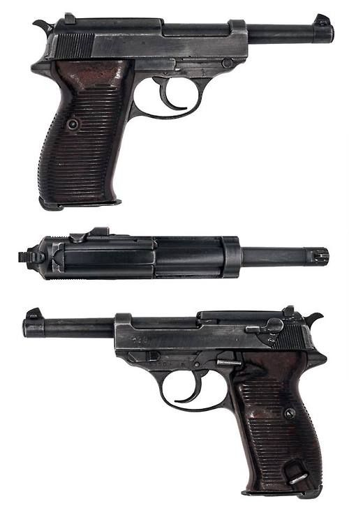 WWII Nazi Germany's Walther P38 is a 9 mm semi-automatic pistol that was developed by Walther arms as the service pistol of the Wehrmacht at the beginning of World War II. It was intended to replace the costly Luger P08, the production of which was scheduled to end in 1942.