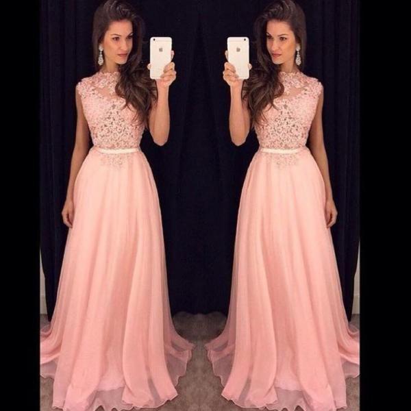 Pink Chiffon Long Prom Dresses,Lace Beaded Evening Dresses,A-line Prom Dresses,Modest Prom Gowns