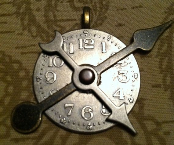 Timepieces Cross Purposes Metal Clock Pendant on Etsy, $7.00