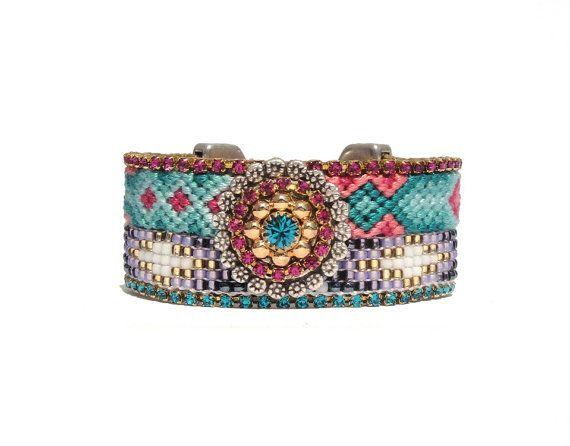 SS2013 Beadwork vriendschap manchet collectie - ibiza sieraden vriendschap armband statement manchet met Swarovski strass - hippie sieraden