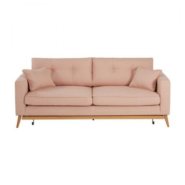 Ref. 166194                              Dimensions (cm) : H88 x W216 x DE86Weight : 65 Kg                                           COSY ATMOSPHEREThe BROOKE marled pink fabric sofa bed will make your living room the cosiest place to spend quality time with your friends and loved ones.