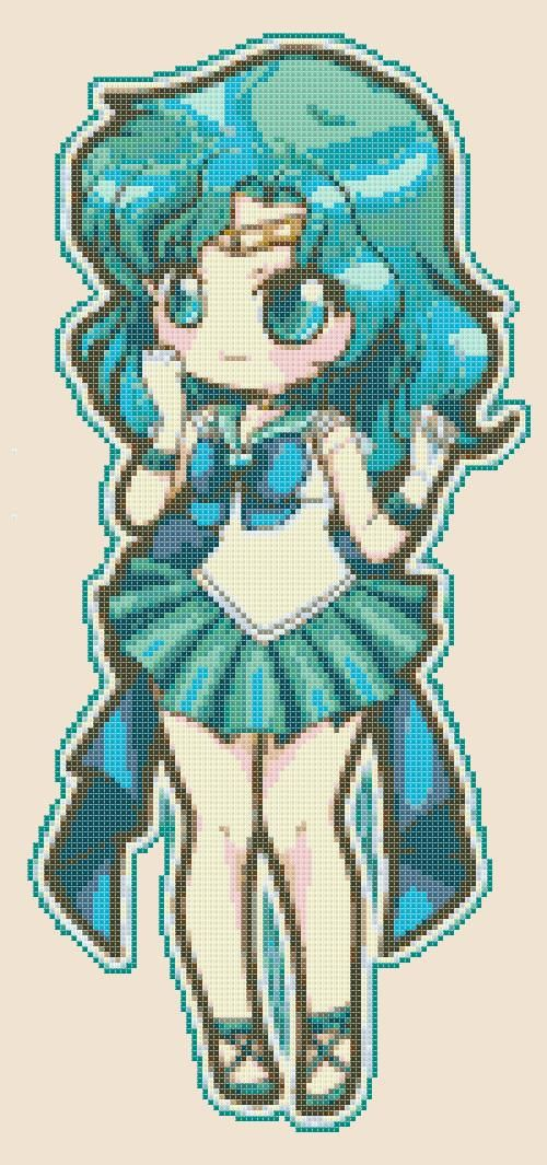 Chibi Sailor Neptune  pdf cross stitch di PDFanimeCrossStitch, $3.50