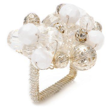 Check out this item at One Kings Lane! S/4 Crystal Bauble Napkin Rings