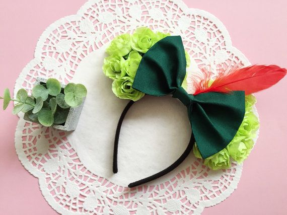 BANGARANG! Youll be the envy of the Kingdom with these adorable Peter Pan inspired Minnie Mouse ears! Handmade with lots of love.  One size