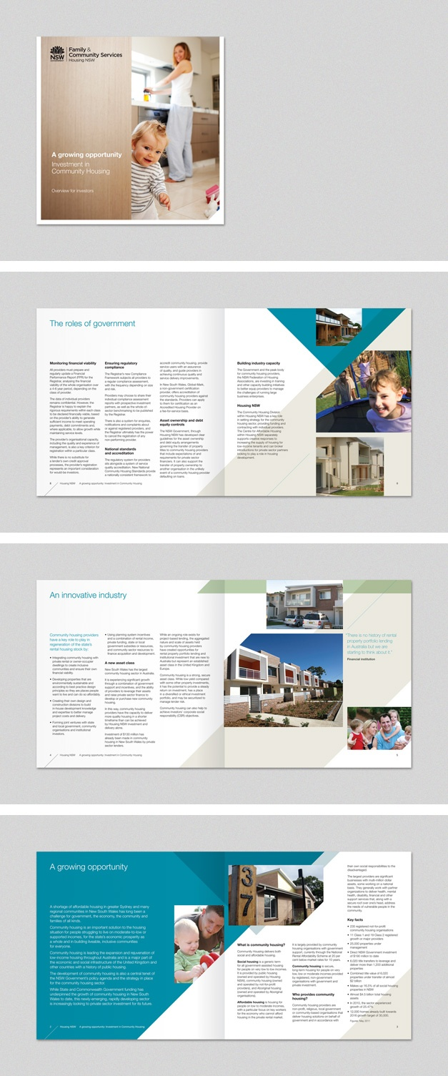 Family & Community Services brochure for Housing NSW. www.fenton.com.au #communication #PR #branding #graphicdesign #brochure