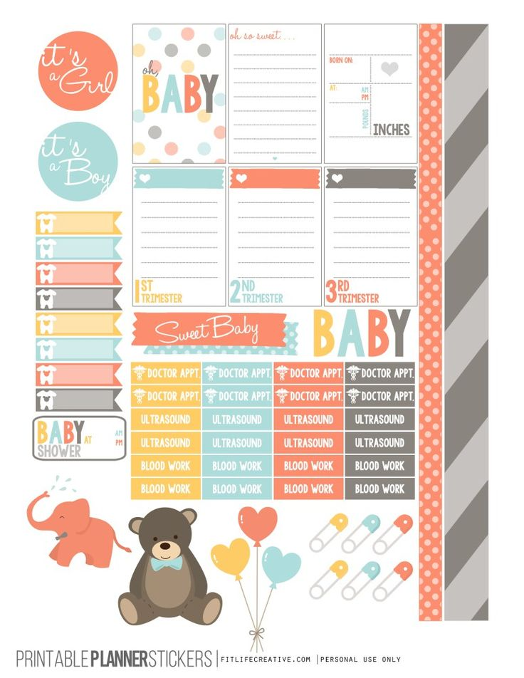 oh Baby Pregnancy Planner Stickers Printable Happy Planner Stickers - FREE
