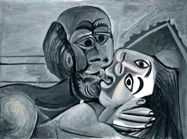 "Pablo Picasso, ""The Kiss,"" 1969. 2012 Estate of Pablo Picasso/Artists Rights Society (ARS), New York, David Heald, via Koons Collection."