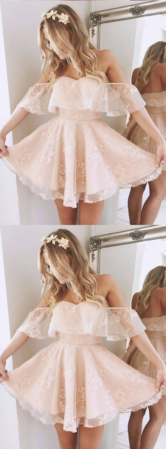 Only $90--Lovely off the shoulder lace mini homecoming dress, student discount, extra 10% off---27dress.com
