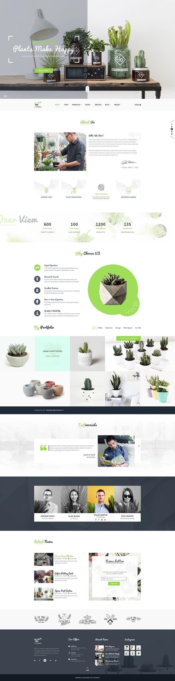 BeGreen - Multipurpose Planter PSD Template on Behance