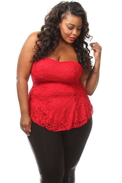 Plus Size Lace Sweetheart Peplum Top