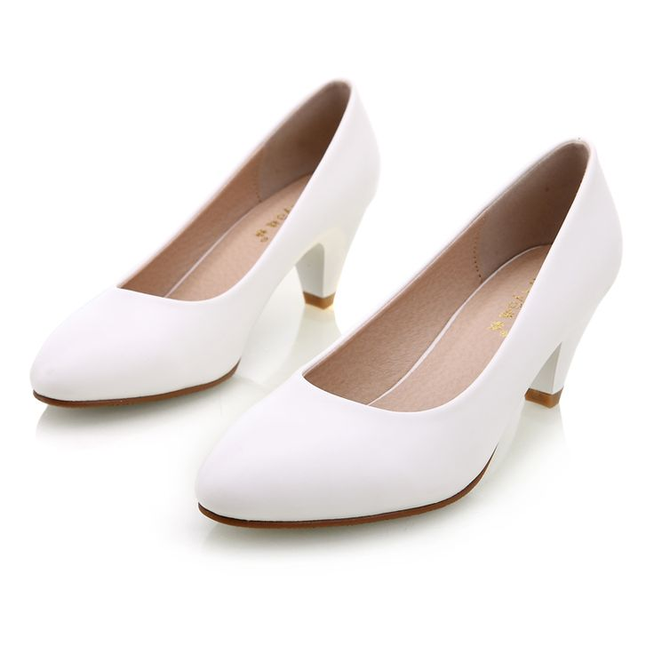 New Women Concise Shoes Black Pumps Office Ladies Shoes 5cm New Med Heel Pumps Pointed Toe Classic. Click visit to check price