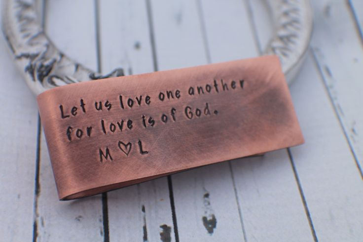 Mens Personalized Gift - Personalized Hand Stamped Copper Money Clip for Him - Personalized Money Clip - Custom Mens Money Clip