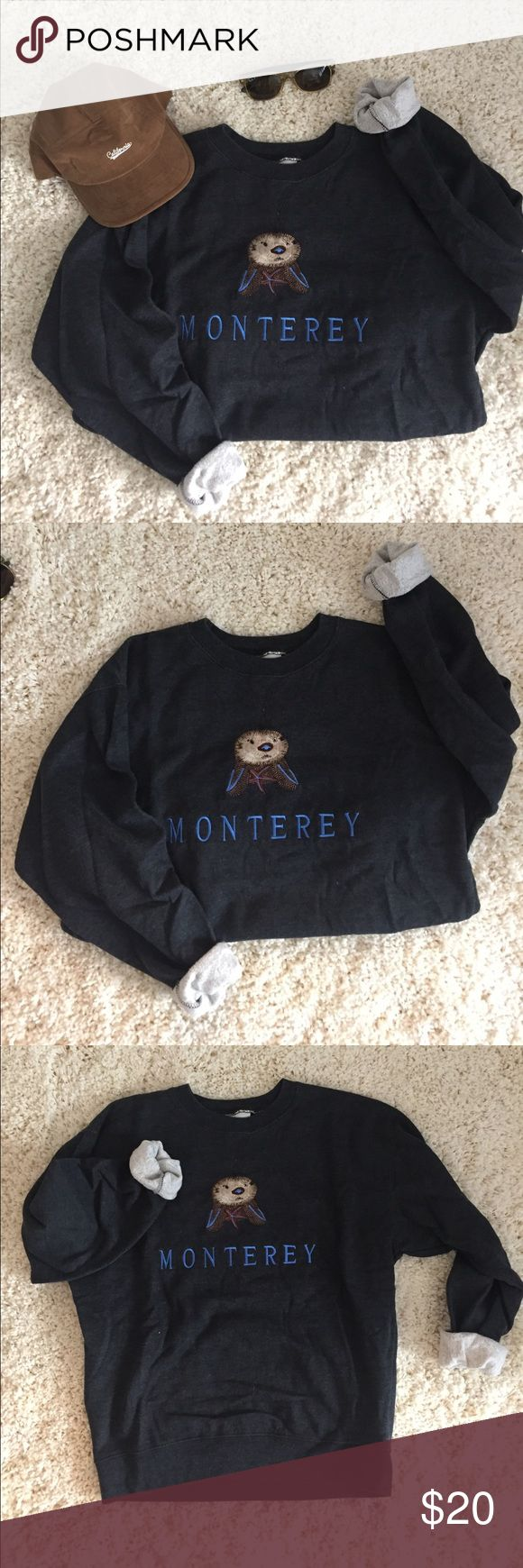 Monterey Bay Aquarium • gray otter crew neck Monterey Bay Aquarium • gray otter crew neck. Unisex size small. I bought this at the actual Monterey Bay Aquarium here in California. Barely worn. Baggy fit for girls, but still very cute! San Francisco Fleecewear Co. Sweaters Crew & Scoop Necks