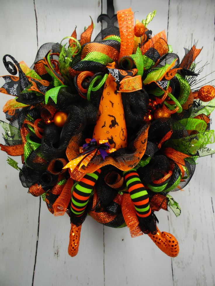 Halloween Witch Wreath, Witch Hat and Legs Halloween Wreath, Orange and Green…