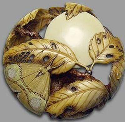 Moon, Leaves and Moth, a Ryūsa carved and tinted Ivory Netsuke by Natasha Popova. Ryūsa