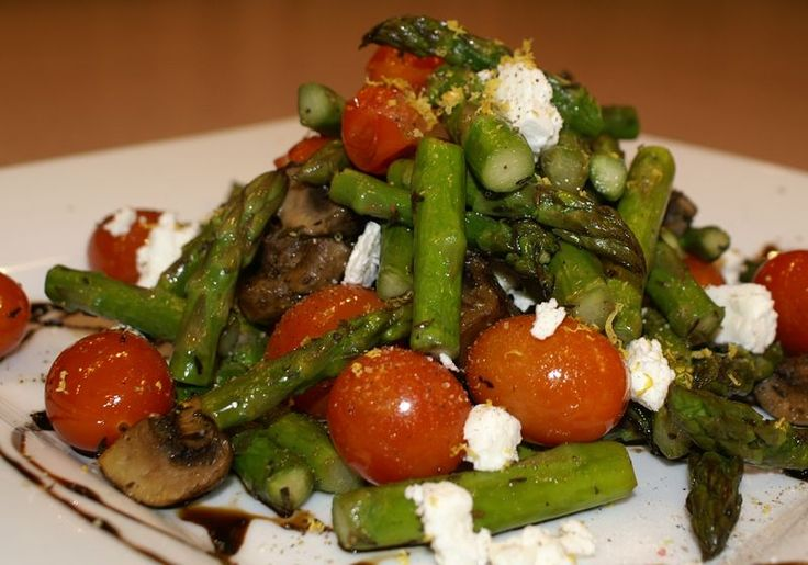 Roasted asparagus, tomatoes, and mushrooms with feta and a balsamic ...