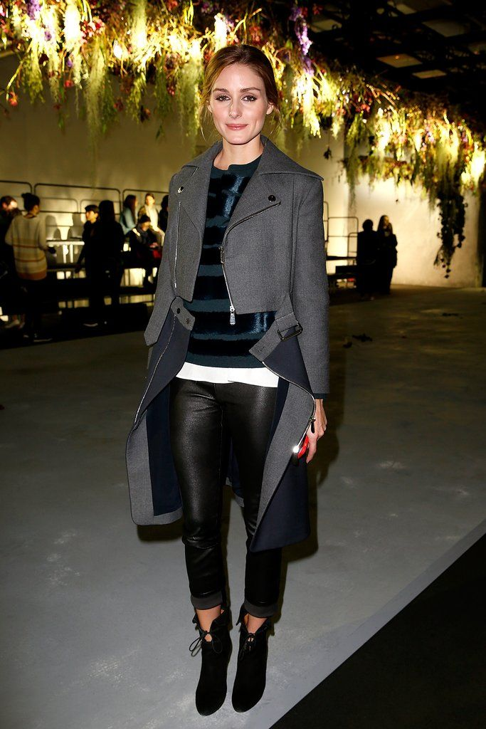 When in Paris, keep it chic! Olivia paired sleek black pants and a structured coat at the Vionnet show while in town for Fashion Week.