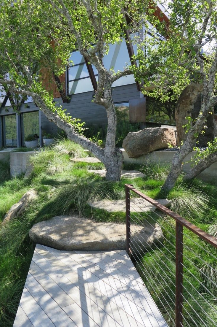 mid century modern garden path limestone pavers, railing