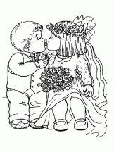 Kleurplaat bruidspaar / Coloriage Mariage