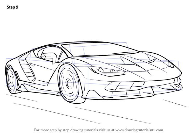 Learn How To Draw Lamborghini Centenario Sports Cars Step By Step Drawing Tutorials Lamborghini Centenario Sports Drawings Cool Car Drawings