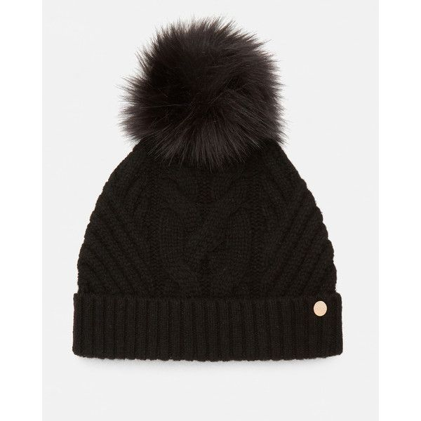 Ted Baker Pom-pom bobble hat ($75) ❤ liked on Polyvore featuring accessories, hats, black, bobble beanie, pom pom hat, bobble hats, cable hat and ted baker