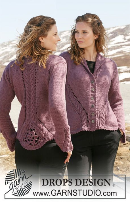 "DROPS Jacket in 2 threads ""Alpaca"" with cable and lace pattern and crochet triangle on back  piece. Size S to XXXL"
