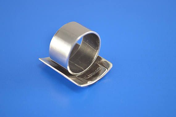Sterling Silver Ring Modernist Statement Mid Century