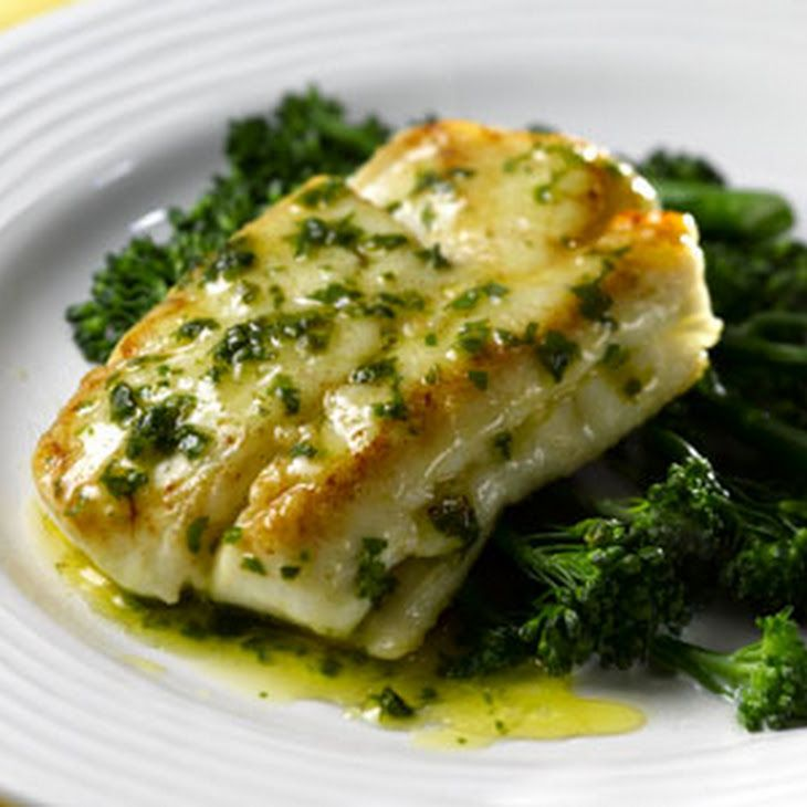 Pan-fried Hake with Lemon and Herb Butter Sauce Recipe Main Course with hake fillets, olive oil, salt, freshly ground pepper, butter, lemon, herbs