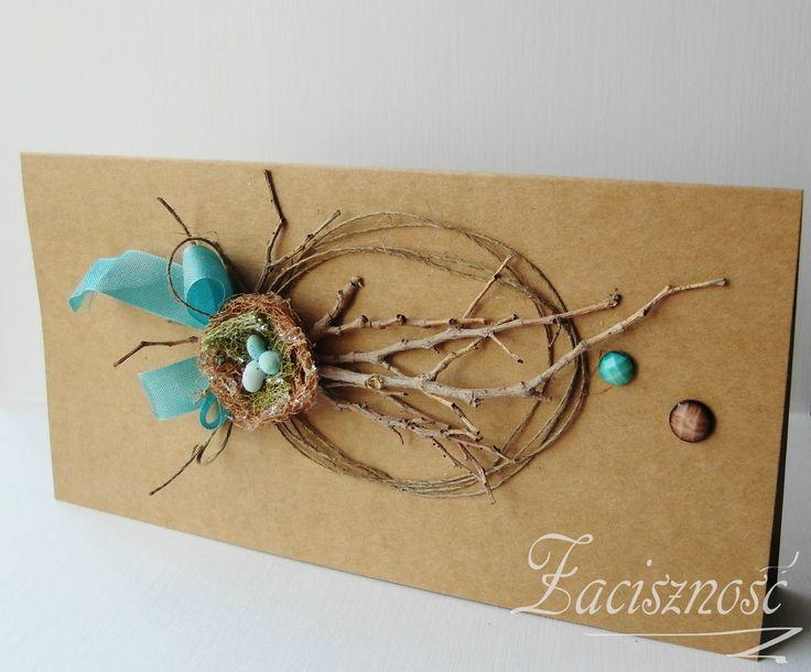 Ręcznie robiona kartka wielkanocna z gałązkami/ #handmade #card #Easter #craft