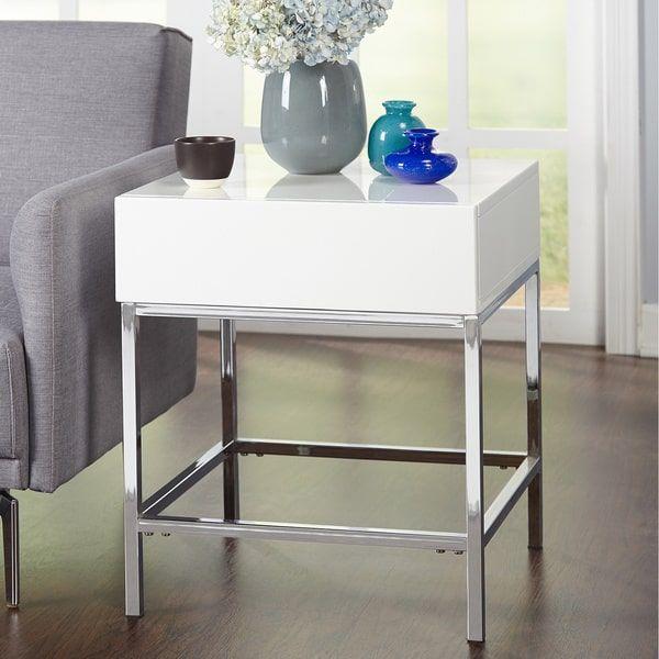 Simple Living White Metal High-gloss End Table