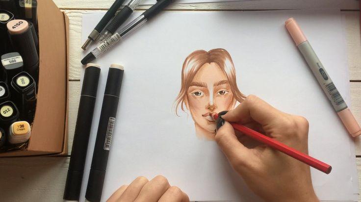 #лицо #косметика #макияж #макияжглаз #макияжгуб #тени #помада #модель #иллюстрация #рисунокдевушка