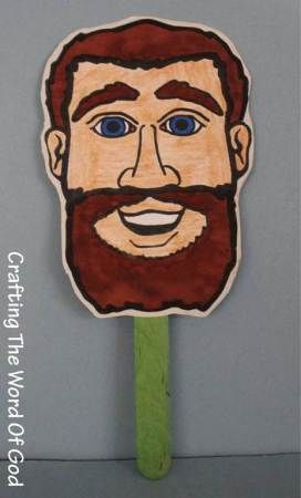 Jesus healed a blind man. 2 sided puppet template.