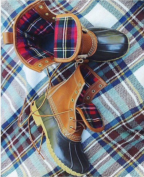Plaid on plaid on plaid LL Bean Boots