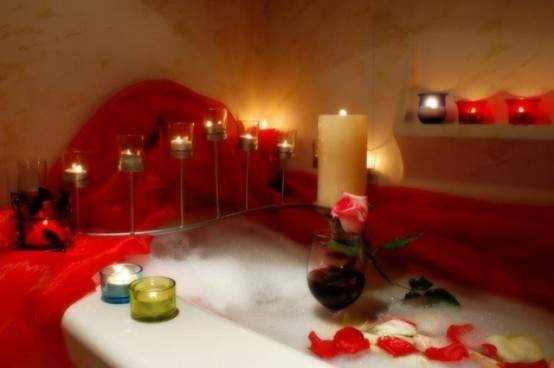 Simply Fresh White Red Romantic Bathroom Decor Ideas With Candles Light And Flower Petals Into Bathtub
