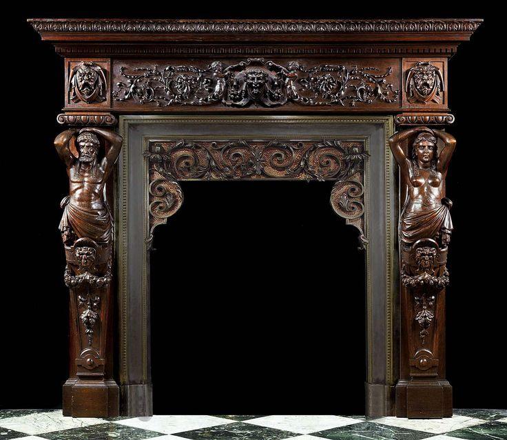 Antique Italian renaissance fireplace mantel carved oak ...