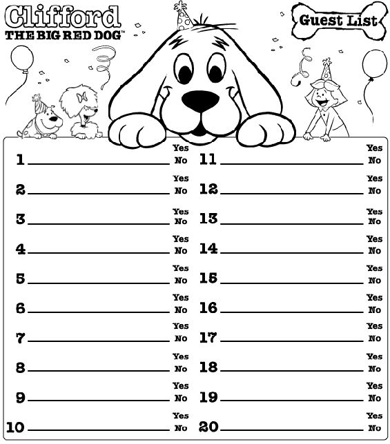 220 best Clifford Birthday Party images on Pinterest Red dog - guest list sample